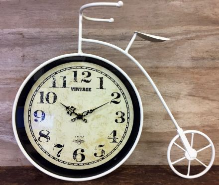 Large Vintage Arabic Dial Cream Penny Farthing Mantel Clock